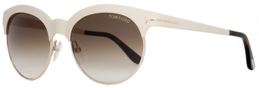 a62092b7c59 Tom Ford Oval Sunglasses TF438 Angela 28F Ivory Gold Havana FT0438