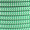 Green Herringbone Round Fabric Cable 3 Core 4200438 | Lampspares.co.uk