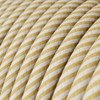 HD Cream and Nut Thin Stripes Round Fabric Cable 3 Core 4774536 | Lampspares.co.uk
