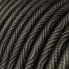 HD Optical Black and Grey Round Fabric Cable 3 Core 4774533   Lampspares.co.uk