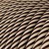 HD Sand and Dark Brown Thin Stripes Round Fabric Cable 3 Core 4774525 | Lampspares.co.uk