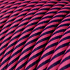 HD Pink and Dark Puple Thin Stripes Round Fabric Cable 3 Core 4774524 | Lampspares.co.uk