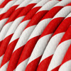 HD Red and White Twist Round Fabric Cable 3 Core 4774515 | Lampspares.co.uk