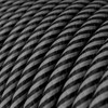 HD Graphite and Black Thin Stripes Round Fabric Cable 3 Core 4774514 | Lampspares.co.uk