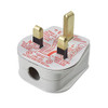White 13A Plug Top with 3A Fuse and Strap Cord Grip 7082488