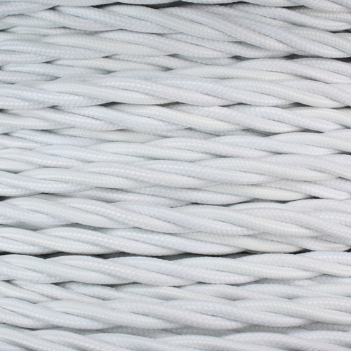 3 Core Braided White Individually Twisted 0.75mm PLU47128 | Lampspares.co.uk