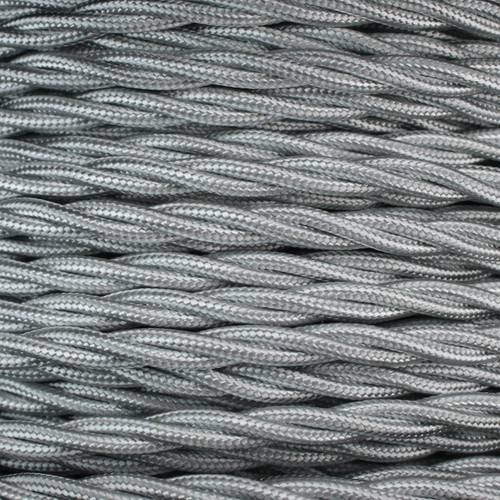 3 Core Braided Silver Individually Twisted 0.75mm PLU5189 | Lampspares.co.uk