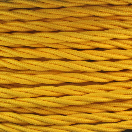 3 Core Yellow Individually Twisted Braided Flex 0.75mm 95357 | Lampspares.co.uk