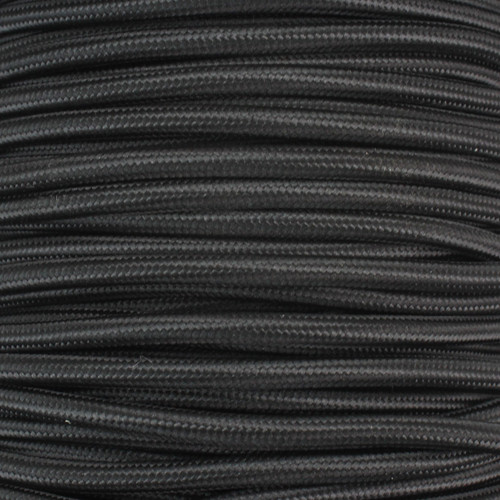 2 Core Braided Black Round Flex 0.75mm PLU26004 | Lampspares.co.uk