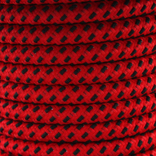 Red And Black Round Fabric Cable 3Core 2166368 | Lampspares.co.uk