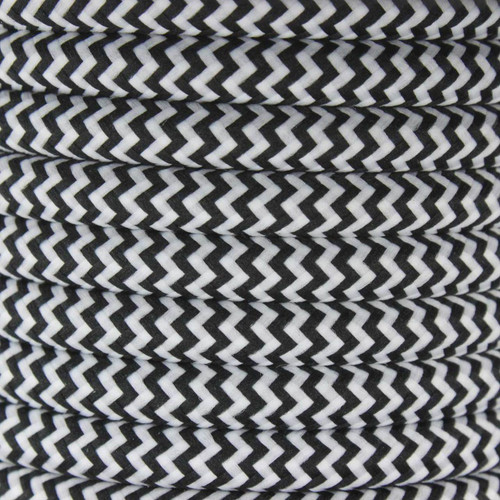 Black Herringbone Round Fabric Cable 3Core 2166369