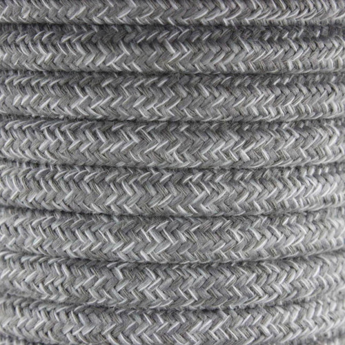 Natural Grey Linen Round Fabric Cable 3 Core 2166373