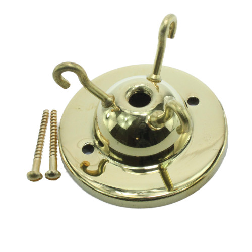 Brass 3 hook ceiling plate with 10mm hole [3127870]