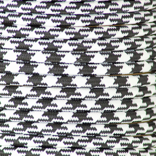 Houndstooth Black 3 Core Round Braided Flex 3146192 | Lampspares.co.uk