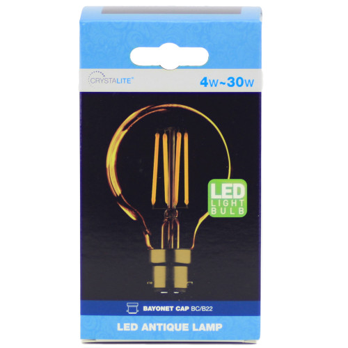 4w LED Crystalite Antique G80 Globe BC Golden Filament [3170663] | Lampspares.co.uk