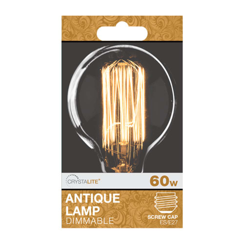 60w Crystalite Antique G80 Globe ES Clear Squirrel Cage Filament [3170662] | Lampspares.co.uk