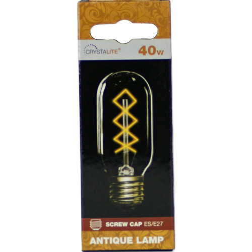 40w Crystalite Antique T45 Tubular ES Clear Diamond Filament [3170657] | Lampspares.co.uk