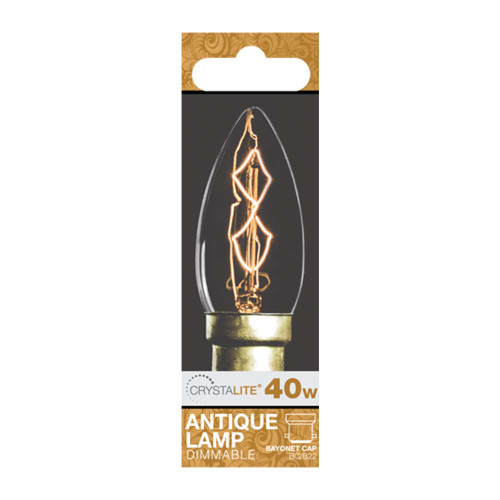40w Crystalite Antique Candle BC Clear Z Shape Filament [3170646] | Lampspares.co.uk