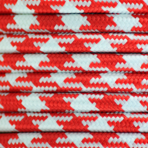 Houndstooth Red 3 Core Round Braided Flex 3181769 | Lampspares.co.uk