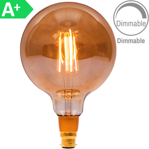 4w LED BC Globe 125mm Amber Dimmable [3466340] | Lampspares.co.uk