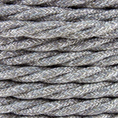 Natural Grey Linen Twisted Fabric Cable 3 Core 4200451   Lampspares.co.uk