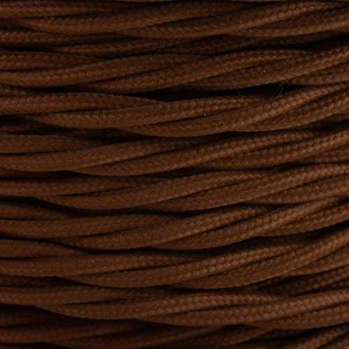 Brown Leather 3 Core Twisted Braided Flex Cable 4477857