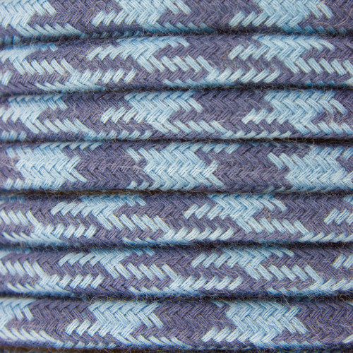 Blue and Grey Round Houndstooth 3 Core Fabric Cotton Cable 4545796