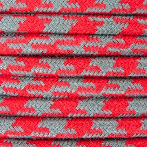 Red and Grey Round Houndstooth 3 Core Fabric Cotton Cable 4545793
