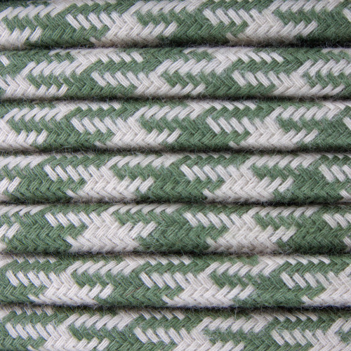 Green and Dove Round Houndstooth 3 Core Fabric Cotton Cable 4545792