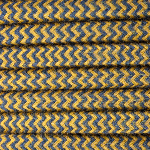 Gold and Dark Grey Round ZigZag 3 Core Fabric Cotton Cable 4545790 | Lampspares.co.uk