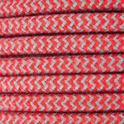 Red and Grey Round ZigZag 3 Core Fabric Cotton Cable 4545789