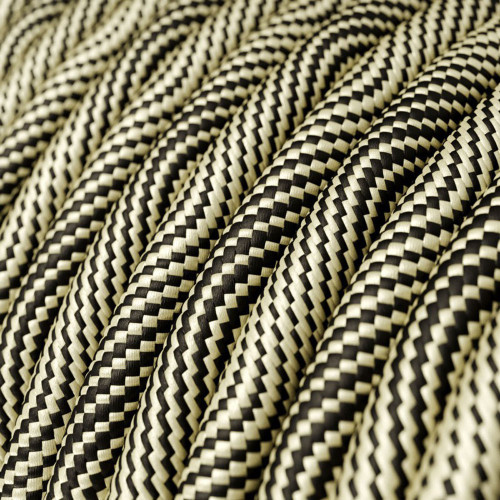 HD Optical Black and Gold Round Fabric Cable 3 Core 4774546