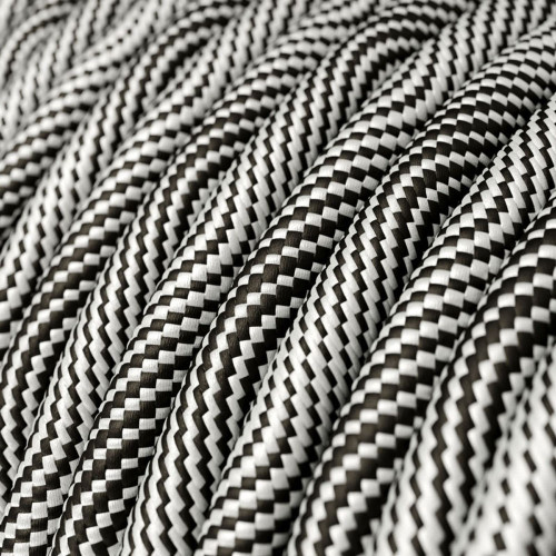 HD Optical Black and Silver Round Fabric Cable 3 Core 4774545 | Lampspares.co.uk