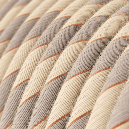 Copper Threaded Cotton and Linen Round Fabric Cable 3 Core 4774544 | Lampspares.co.uk