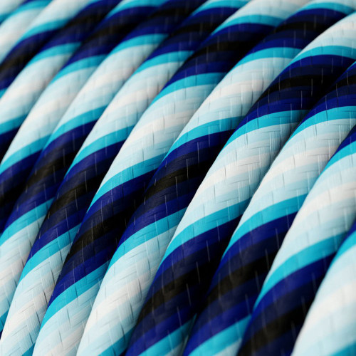 HD Fuzzy Blue Twist Round Fabric Cable 3 Core 4774540