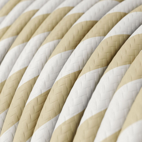 HD Cream and Nut Twist Round Fabric Cable 3 Core 4774538 | Lampspares.co.uk