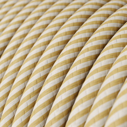 HD Cream and Nut Thin Stripes Round Fabric Cable 3 Core 4774536