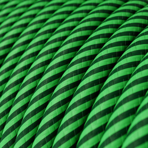 HD Kiwi and Dark Green Thin Stripes Round Fabric Cable 3 Core 4774535 | Lampspares.co.uk