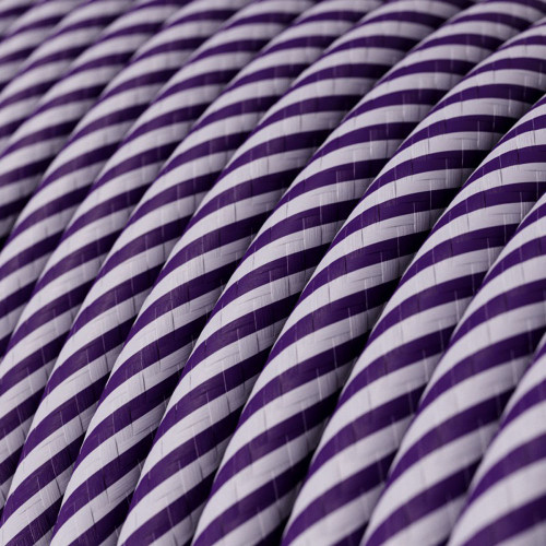 HD Lilac and Dark Purple Thin Stripes Round Fabric Cable 3 Core 4774526 | Lampspares.co.uk