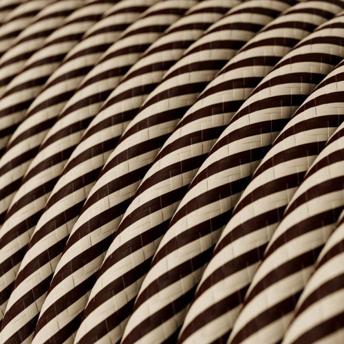 HD Sand and Dark Brown Thin Stripes Round Fabric Cable 3 Core 4774525