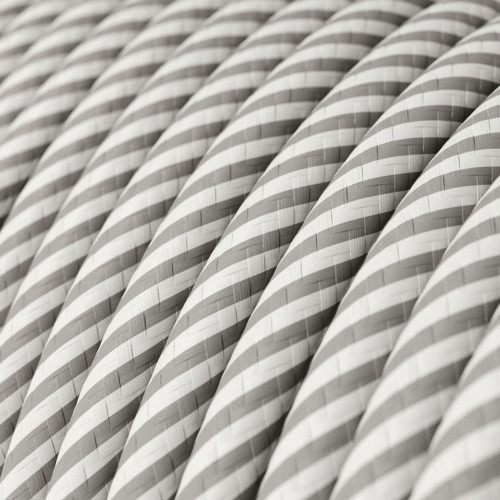 HD White and Aluminium Round Fabric Cable 3 Core 4774521 | Lampspares.co.uk