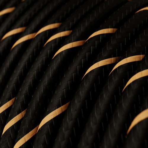 HD Black and Gold Round Fabric Cable 3 Core 4774518 | Lampspares.co.uk