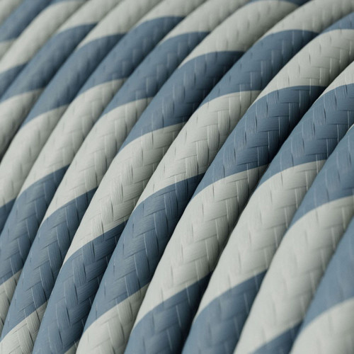 HD Light Blue and Grey Twist Round Fabric Cable 3 Core 4774516