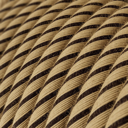 Tobacco Jute and Cotton Round Fabric Cable 3 Core 4774510