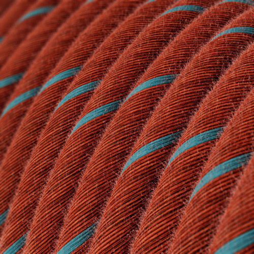 Brick and Light Blue Cotton Round Fabric Cable 3 Core 4774508   Lampspares.co.uk
