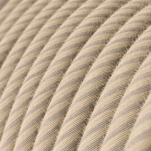 Straw Cotton and Linen Round Fabric Cable 3 Core 4774509 | Lampspares.co.uk