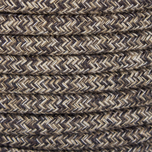 Natural Brown Linen Round Fabric Cable 3 Core 4927950