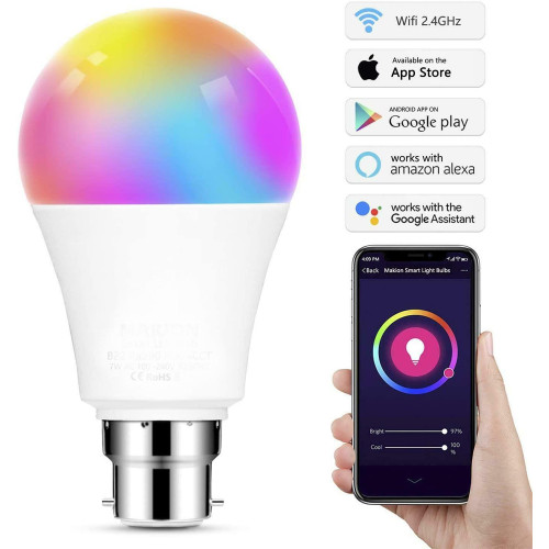 Status Smart Alexa Google Assistant Dimmable 9w RGB BC LED Lamp 5991431