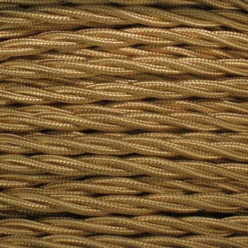 3 Core Braided Gold Individually Twisted 0.75mm PLU14541 | Lampspares.co.uk