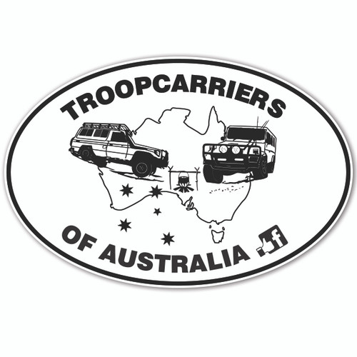 "Troopcarriers of Australia Oval (""Two Troopy's"") Sticker 27cm"